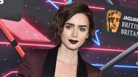 Red Alert: Lily Collins Debuts Bomb Blunt Bangs   StyleCaster
