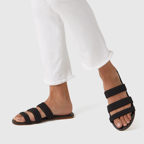 STYLECASTER | Best Sustainable Clothing Brands | Rothy's black sandals