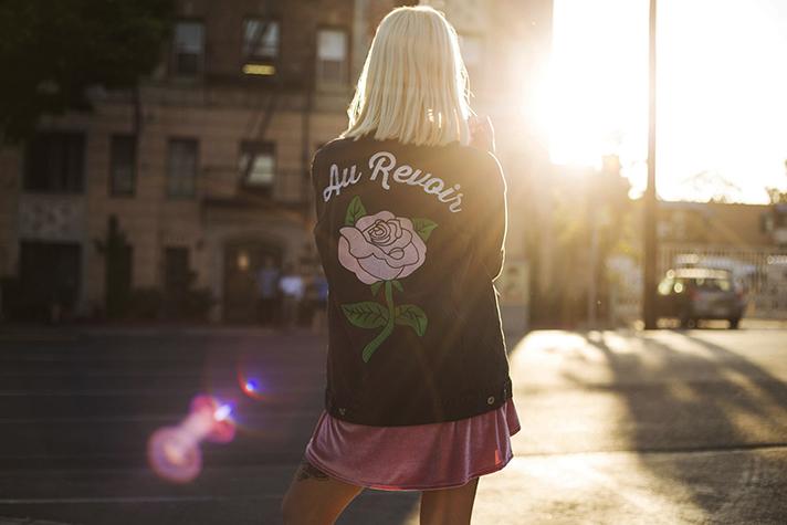 valfre au revoir rose denim jacket