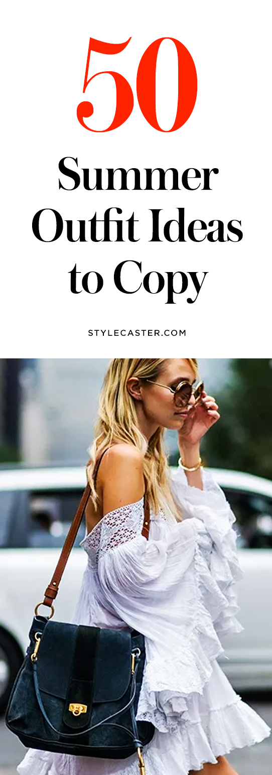 50 cute Summer 2017 outfit ideas to steal from bloggers & street style stars. Prepare to see fashion girls everywhere rocking trendy denim skirts, off-the-shoulder tops, ruffles and frills, and modern maxi dresses. @stylecaster