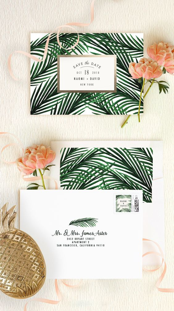 Tropical save the date postcards wedding idea | Minted