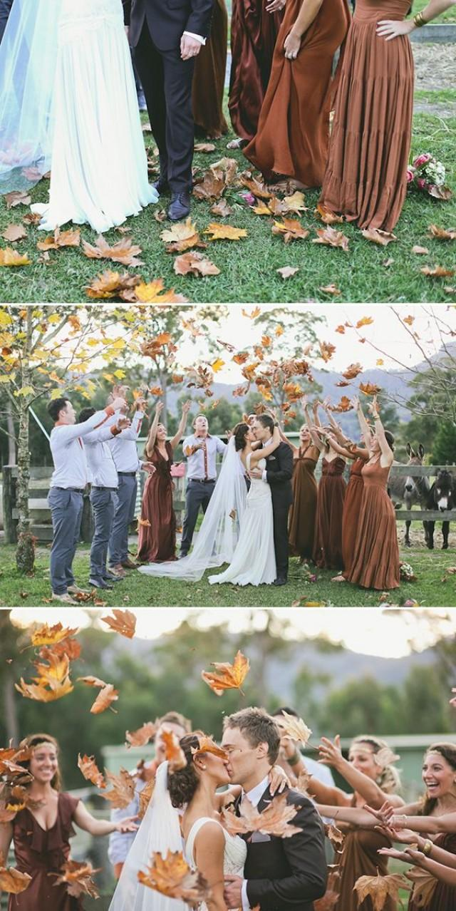 throwing leaves fall wedding 50 Genius Wedding Ideas to Help You Throw the Most Unique Wedding Ever