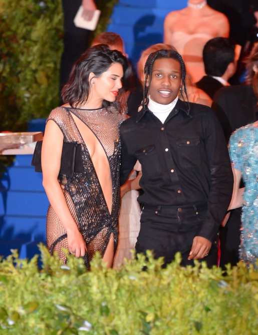Kendall Jenner Style: Kendall wears a sheer black dress as she walks the red carpet with A$AP Rocky at the 2017 Met Gala.