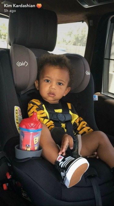 saint west kim kardashian snapchat Kim Kardashians Son Saint West Is a Spitting Image of Kanye in New Picture