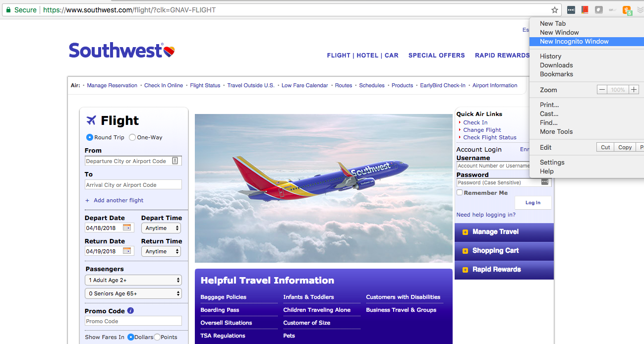 southwest flights screenshot 27 Brilliant Travel Tips—From Booking and Packing to Vacationing