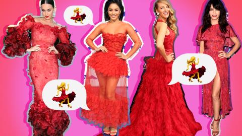 15 Times Celebrities Looked Like the Dancing Girl Emoji | StyleCaster