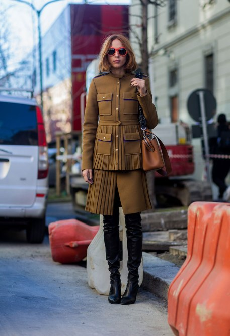 STYLECASTER | How to Wear Clashing Colors | Army Green Coat and Matching Skirt
