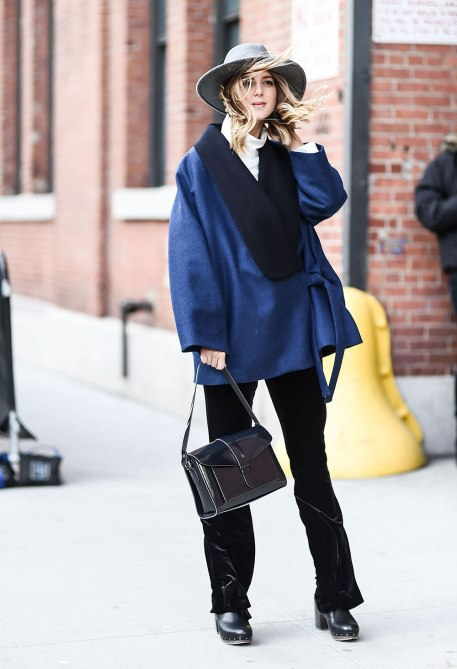STYLECASTER | How to Wear Clashing Colors | Navy Oversized Jacket and Black Velvet Pants