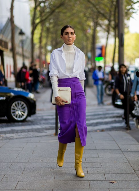 STYLECASTER | How to Wear Clashing Colors | White Button Down with White Turtleneck and a Purple Mid-Calf Skirt