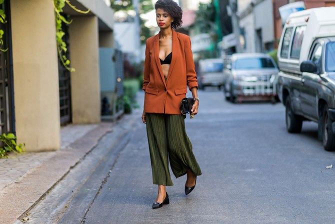 STYLECASTER | How to Wear Clashing Colors | Green Culottes and Orange Blazer