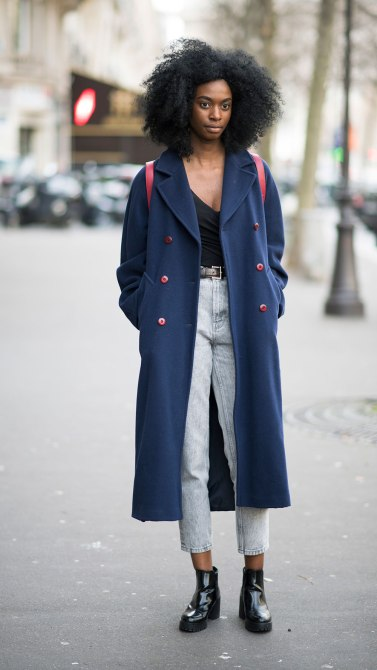 STYLECASTER | How to Wear Clashing Colors | Navy Long Peat Coat and Washed Out Jeans