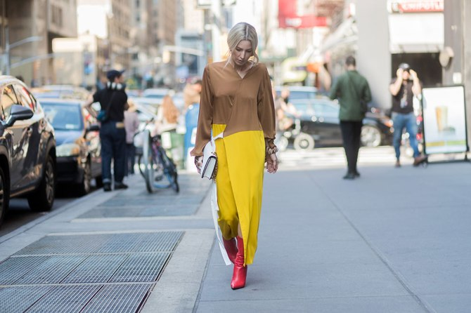 STYLECASTER | How to Wear Clashing Colors | Yellow and Brown Dress with Red Boots