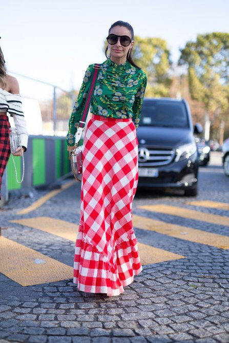 STYLECASTER | How to Wear Clashing Colors | Green Floral Top and Red Picnic Print Skirt