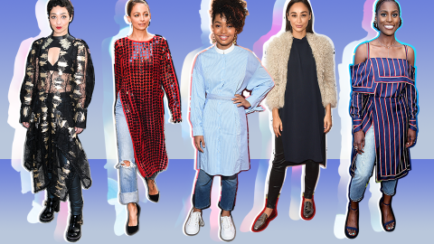 17 Celebrities Who Pulled off the Dresses-Over-Pants Look | StyleCaster