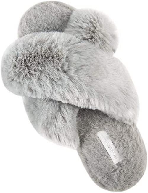 STYLECASTER | Best Slippers | gray fuzzy