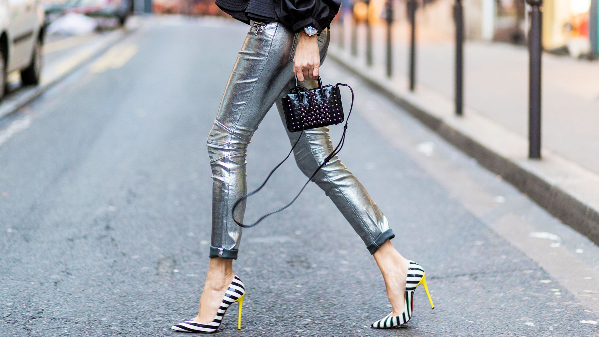 Woman in Metallic Jeans