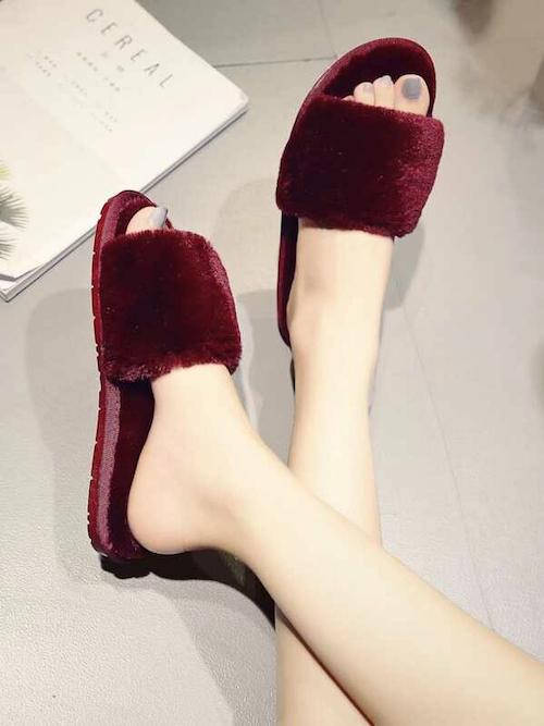 STYLECASTER | Best Slippers | burgundy slide