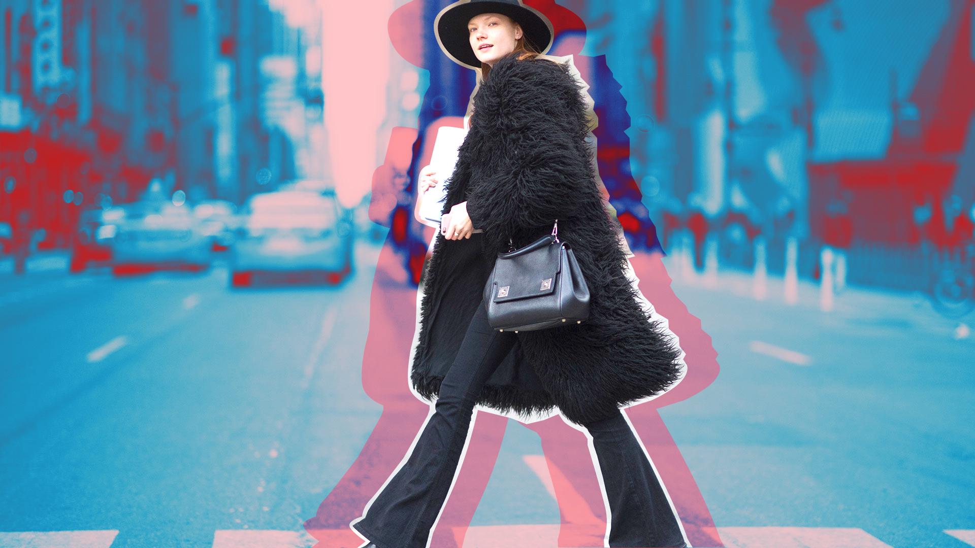 Stylish Woman Crossing Street