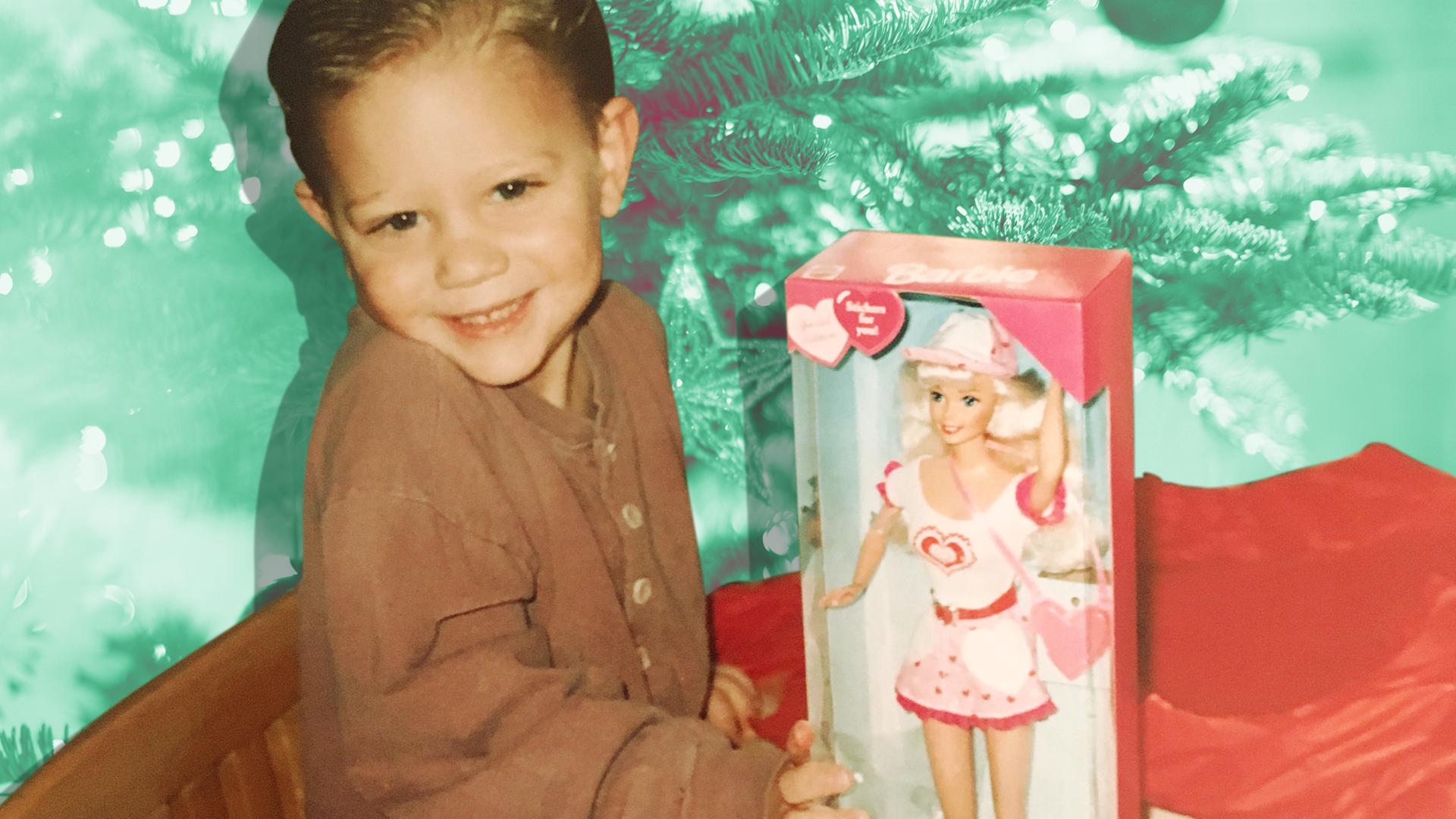 Boy with Barbie