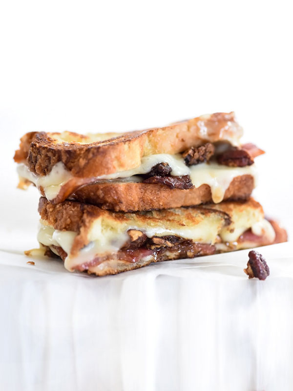 STYLECASTER | comfort food recipes | Havarti Grilled Cheese with Sweet Bacon and Brown Sugar Pecans