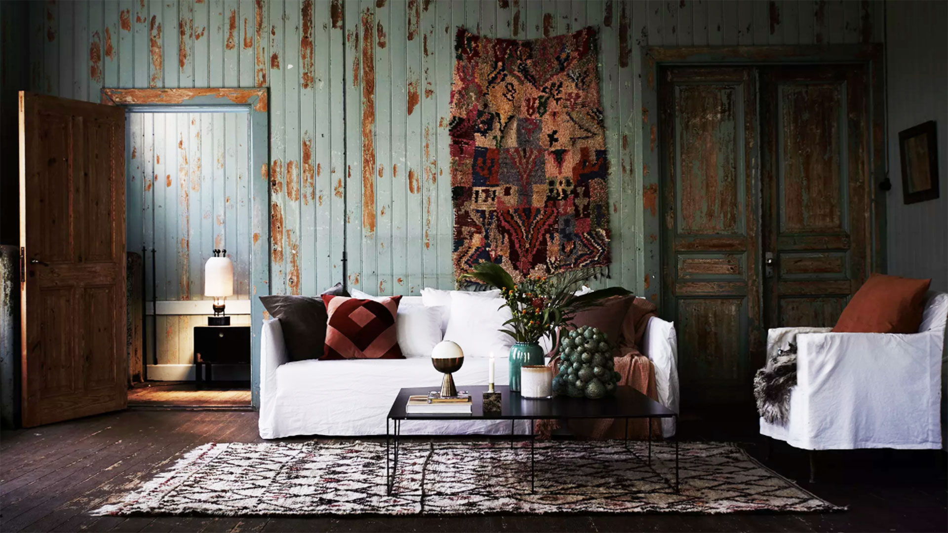 Living Room with Rustic Walls