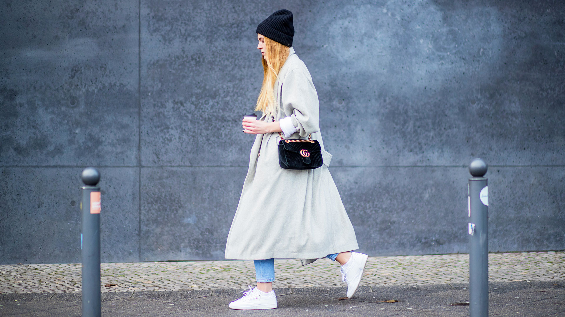 Stylish Woman Walking with Coffee