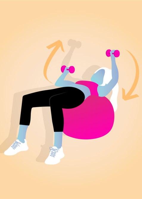 STYLECASTER   Gym Workout for Smaller Waist   Swiss Ball Chest Press