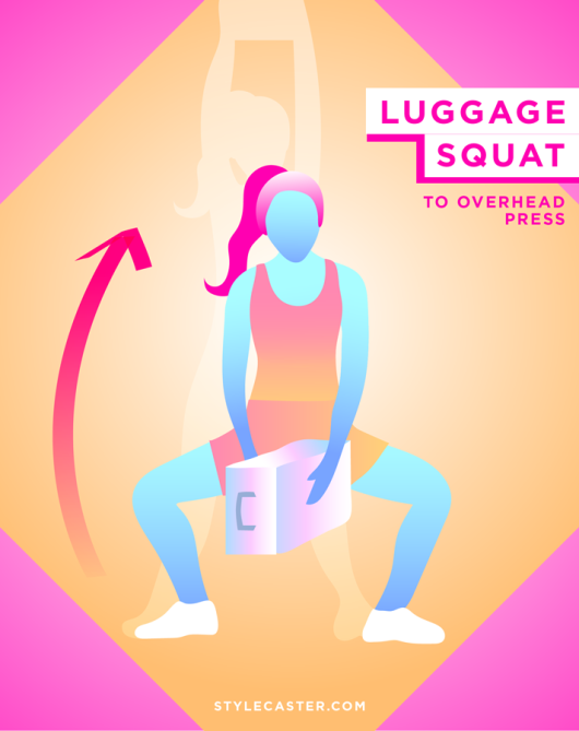 STYLECASTER   Quick and Dirty Travel Workout for Smaller Waist   Luggage Squat