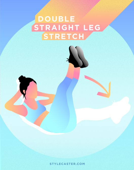 STYLECASTER   Quick and Dirty Home Workout for Smaller Waist   Double Straight Leg Stretch