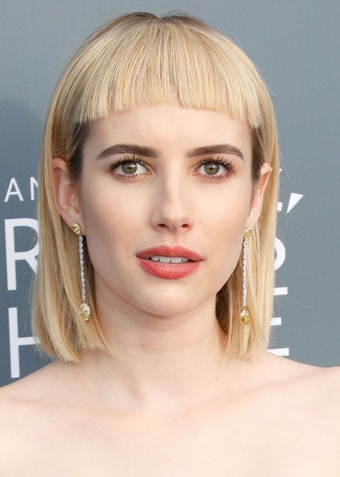 blunt haircuts emma roberts The Straight Edge Hairstyle to Try When You Want to Level Up Your Look