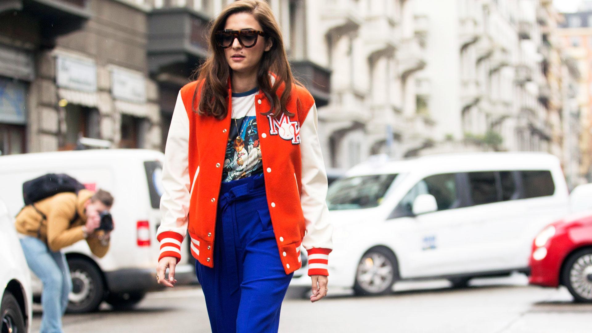 Woman in Varsity Jacket