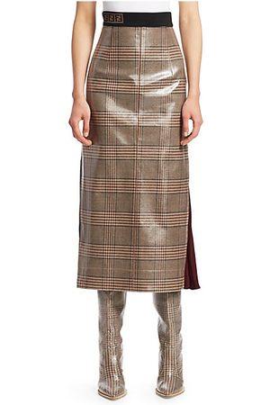 fendi glazed check midi skirt
