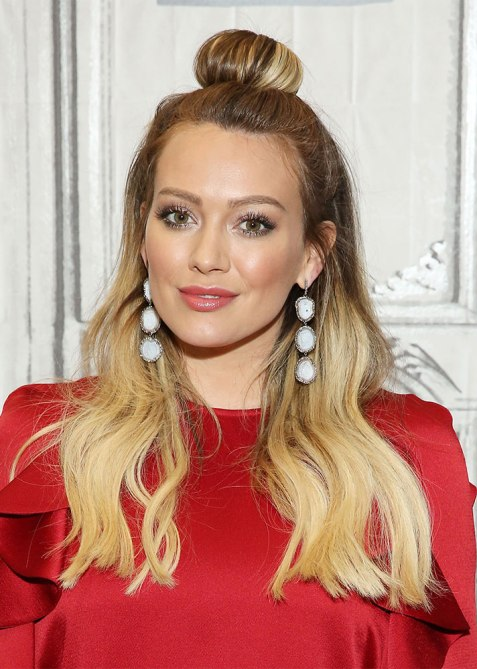 half up half down hilary duff 1 Trend Alert: Celebs Cant Stop Wearing the Half Up, Half Down Hairstyle