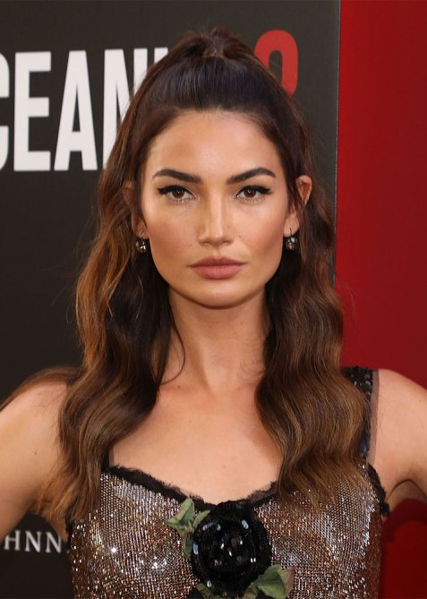 half up half down lily aldridge 1 Trend Alert: Celebs Cant Stop Wearing the Half Up, Half Down Hairstyle