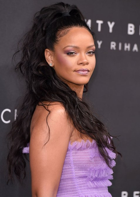 half up half down rihanna 1 Trend Alert: Celebs Cant Stop Wearing the Half Up, Half Down Hairstyle