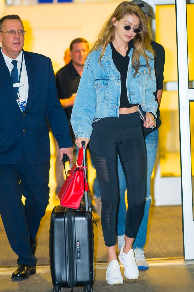 gettyimages 1026054158 Gigi Hadids Airport Outfit Probably Looks a Lot Like Yours