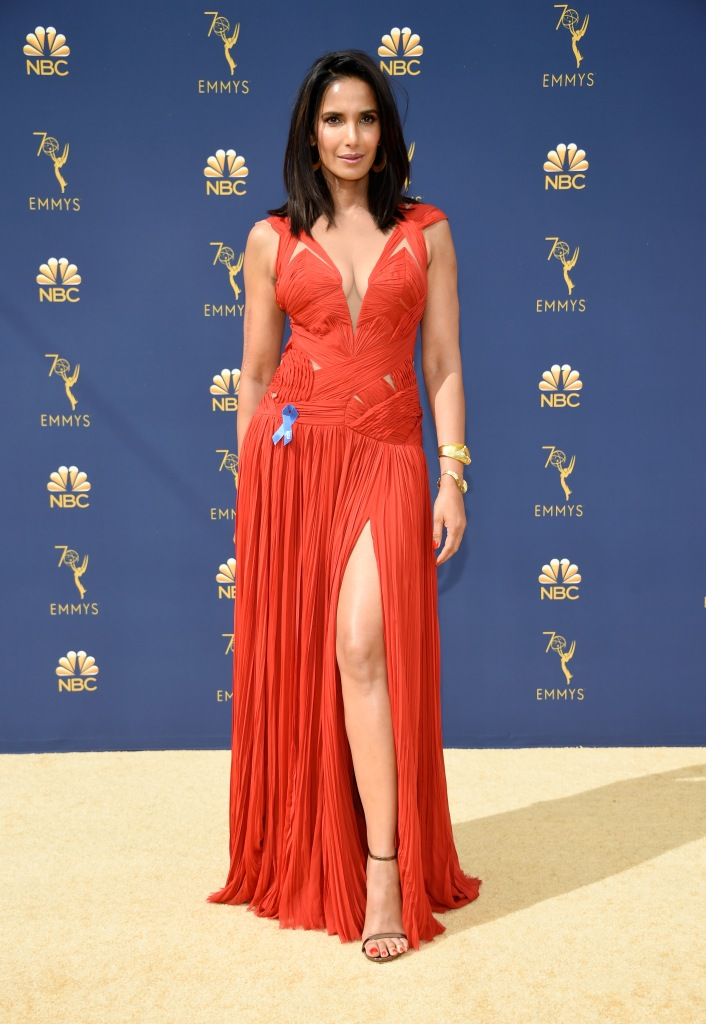 gettyimages 1035092238 Padma Lakshmi Recycles a Red Evening Gown at the 2018 Emmys