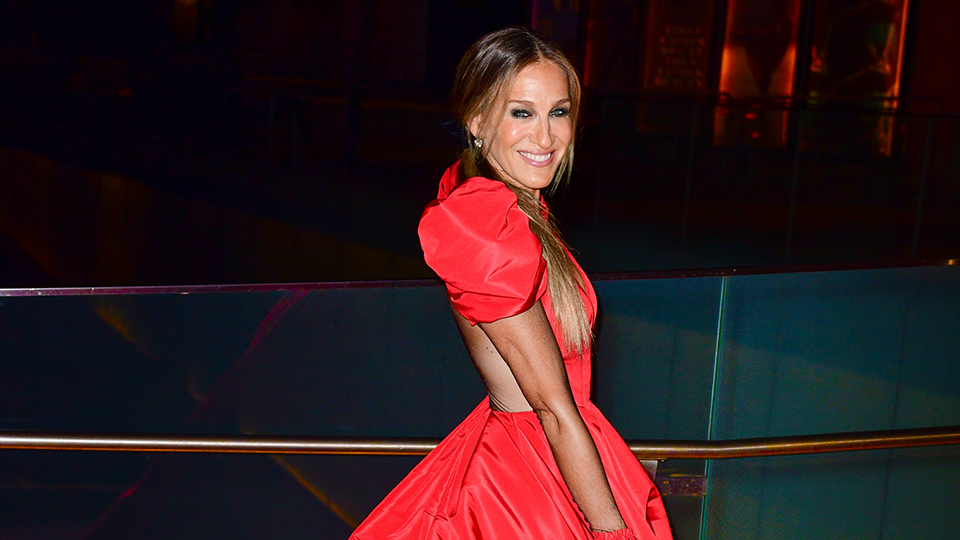 Sarah Jessica Parker Steps Out in a Dramatic Red Gown Worthy of Carrie Bradshaw