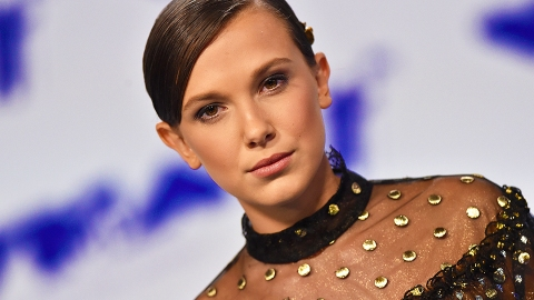 Millie Bobby Brown Looks Like a Vintage Dream in a Silk Hair Scarf and Fuzzy Coat | StyleCaster