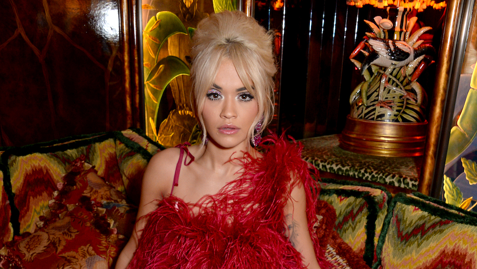 Rita Ora's Red Feather Dress Is the Most Extra Thing We've Ever Seen