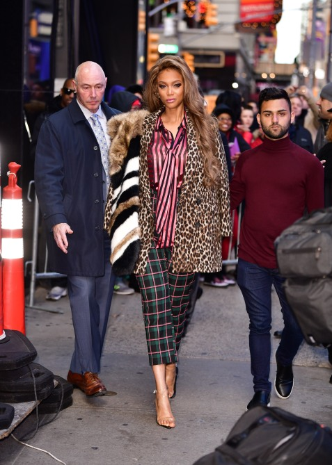 gettyimages 1066360390 Tyra Banks Models Maximalism in Stripes, Plaid and Animal Prints