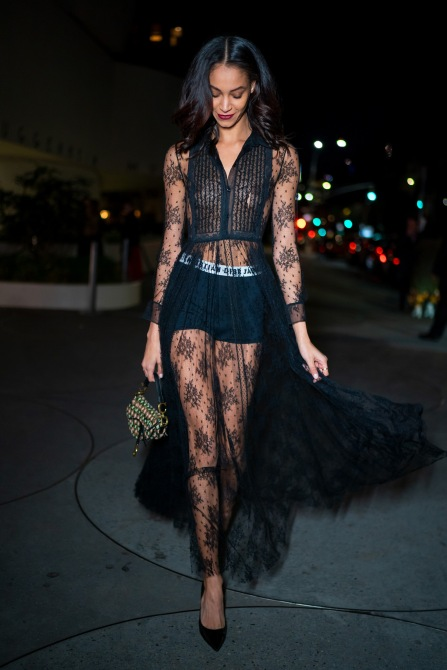 gettyimages 1067699188 Model Chantal Monaghans Lace Dress Is the Chicest Way to Show Off Your Favorite Lingerie