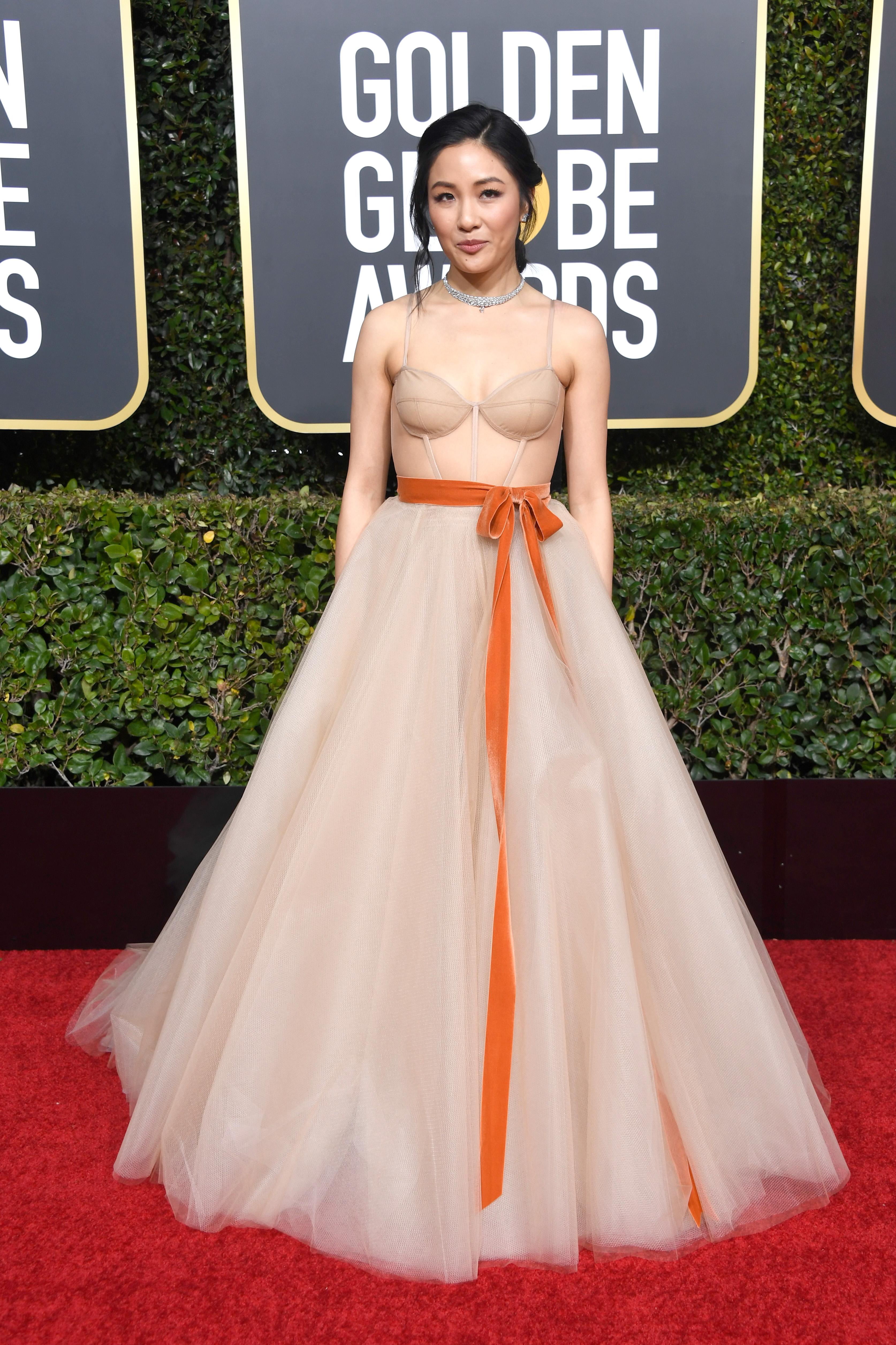 Constance Wu Stuns on 2019 Golden Globes Red Carpet