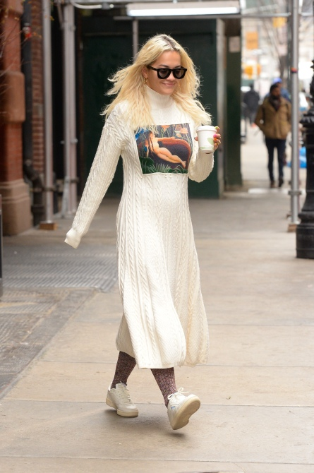 gettyimages 1083292572 Rita Ora's Sweater Dress Has a Naked Woman on It, and I Kind of Love It