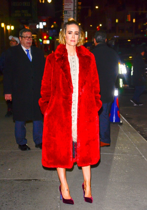 gettyimages 1084015558 Sarah Paulson Wore More Iconic Coats in 2 Days Than We Have in a Lifetime
