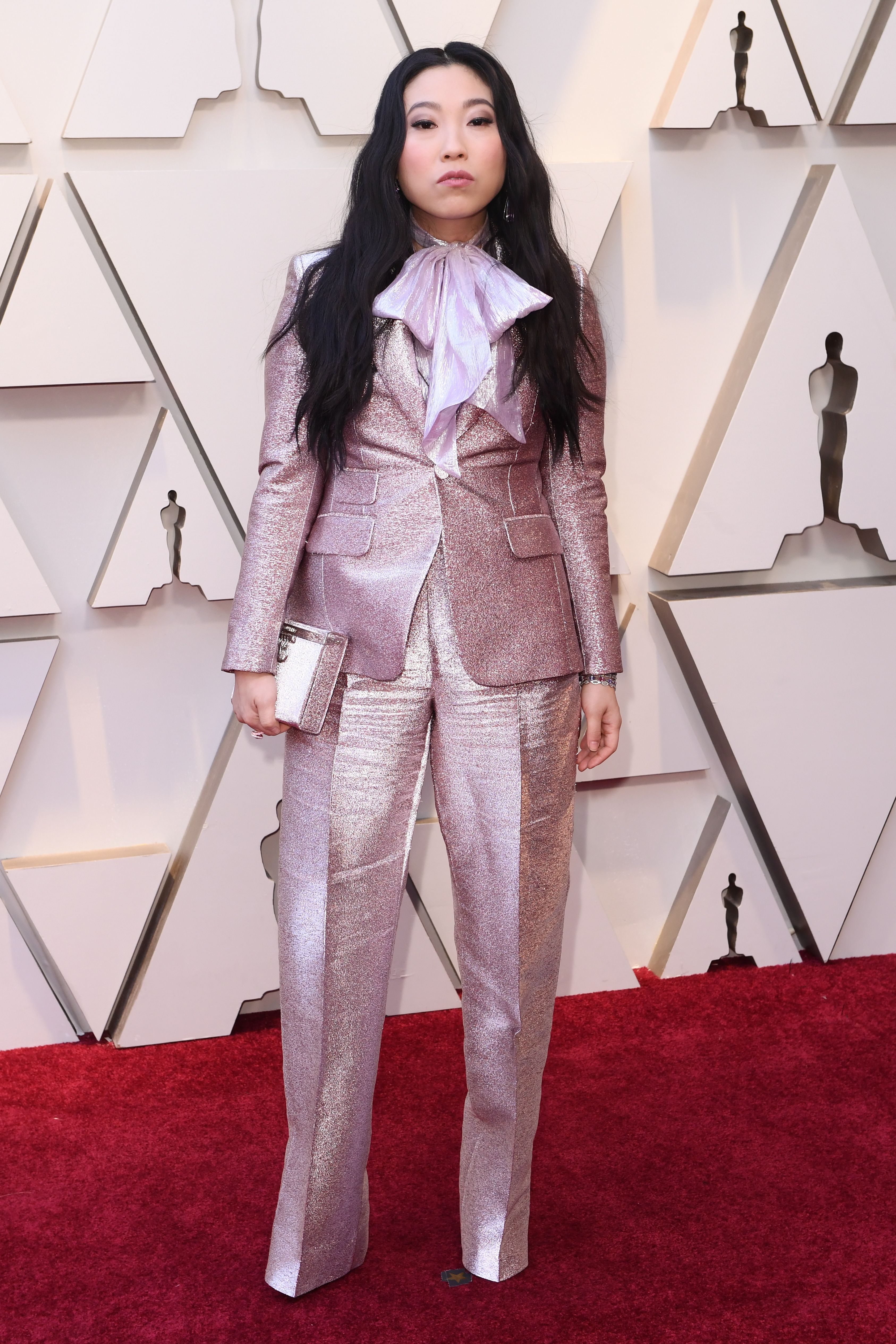 10112734cw Awkwafinas Head to Toe Pink 2019 Oscars Ensemble Is Cooler Than You Ever Could Imagine