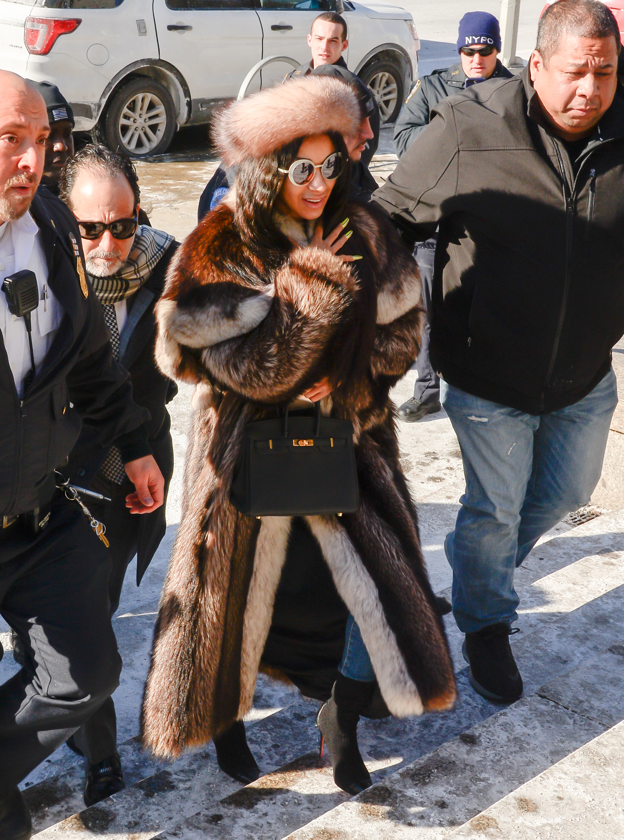 gettyimages 1091924502 Cardi B's Fur Outfit Is the Biggest Winter Mood of All Time