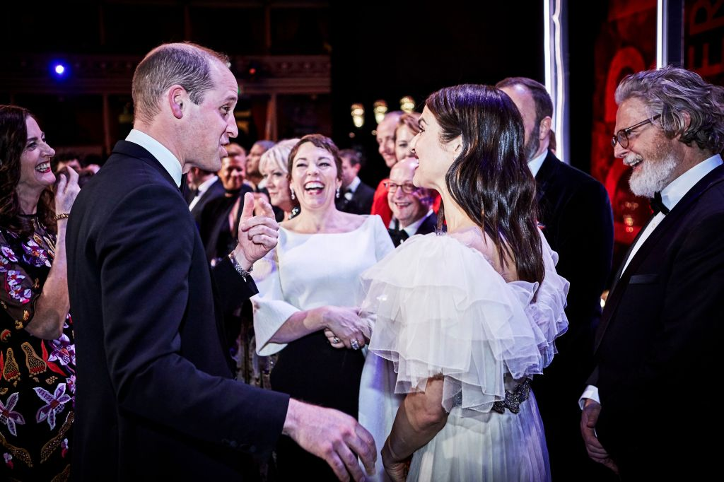 prince william princess kate baftas Prince William Met the Actress Playing His Grandma on The Crown & His Reaction Is Priceless