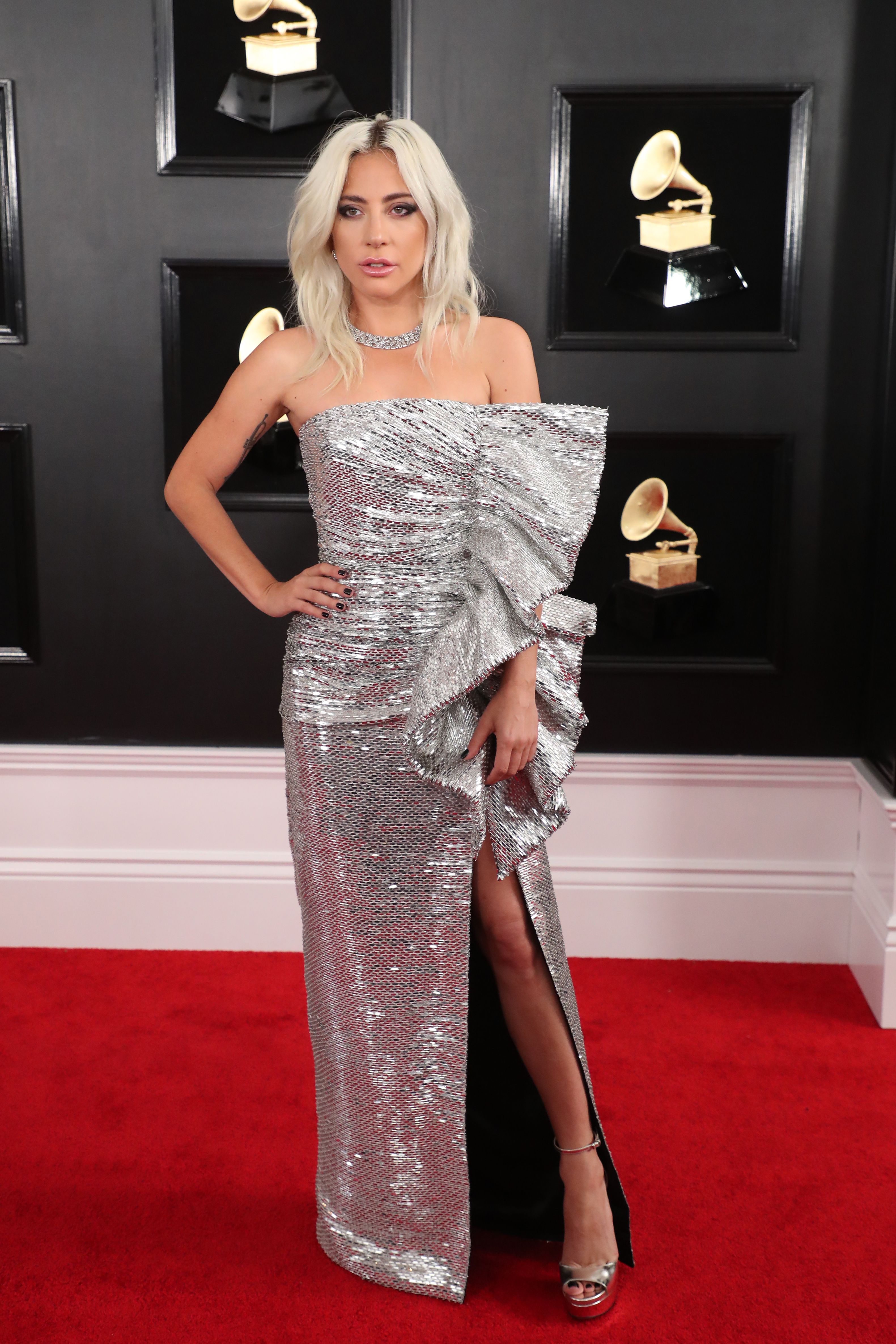 lady gaga s 2019 grammys look is disco ball chic stylecaster https stylecaster com lady gaga grammys look 2019