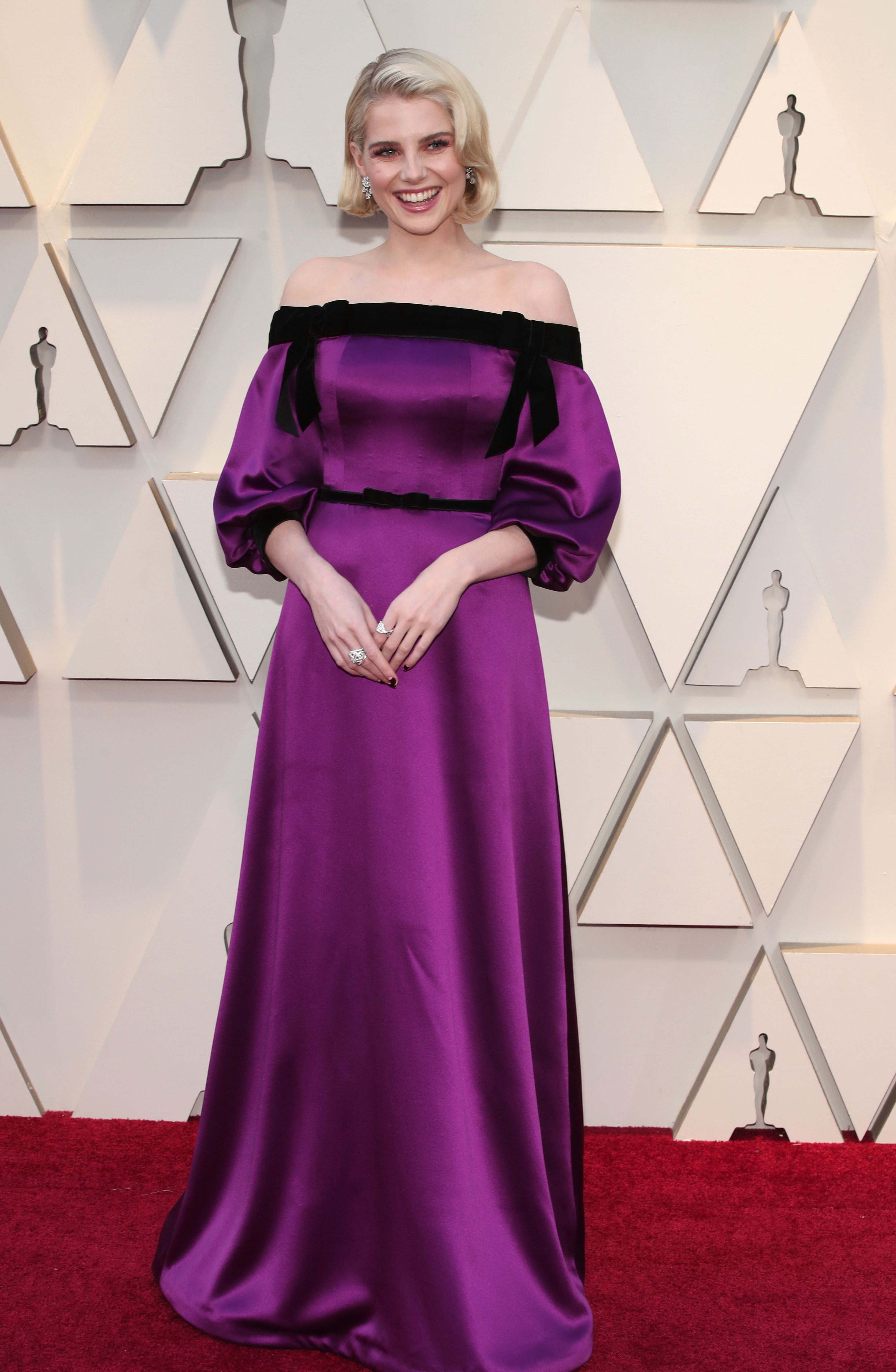 shutterstock 10113255jl Lucy Boyntons Oscars Look Will Inspire You to Whip Out Your Favorite Off the Shoulder Pieces